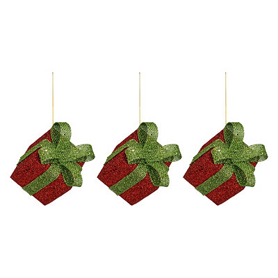 Glittery Red Gift Box Ornaments, Set of 3