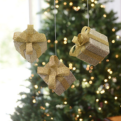 Glittery Silver Gift Box Ornaments, Set of 3