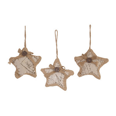Burlap Star Ornaments, Set of 3