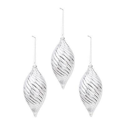 Silver Frost Swirl Finial Ornament, Set of 3