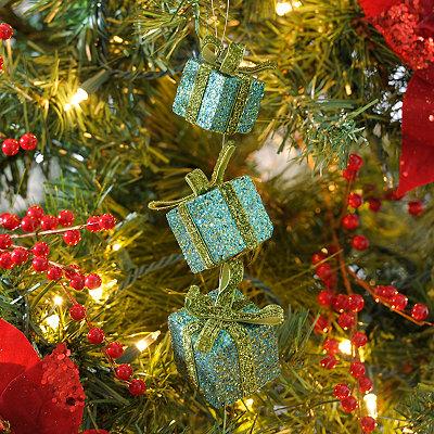 Blue Glitter Triple Gift Ornament, Set of 3