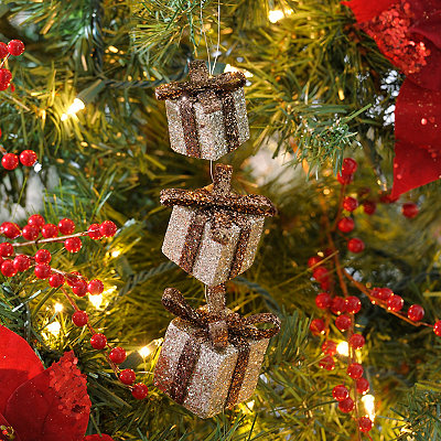 Brown Glitter Triple Gift Ornament