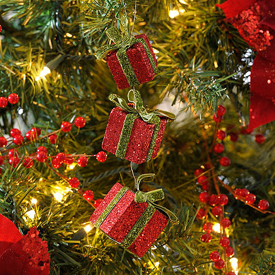 Red Glitter Triple Gift Ornament, Set of 3