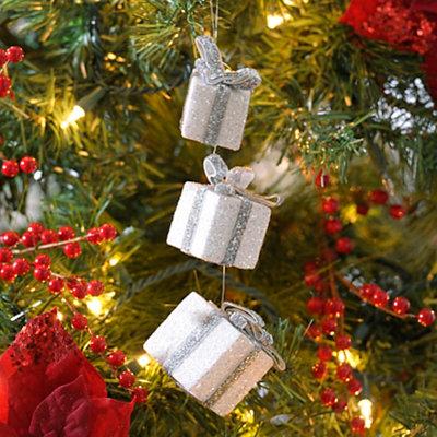 Silver Glitter Triple Gift Ornament, Set of 3
