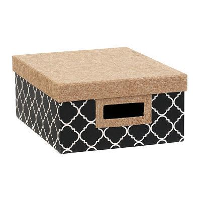 Black & White Quatrefoil Storage Box, Small