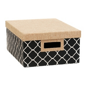 Black & White Quatrefoil Storage Box, Medium