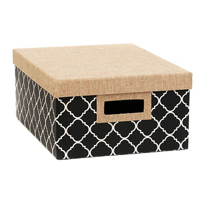 Black & White Quatrefoil Storage Box, Medium