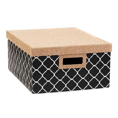 Black & White Quatrefoil Storage Box, Large