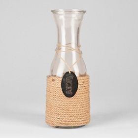 Jute Wrapped Milk Bottle Vase