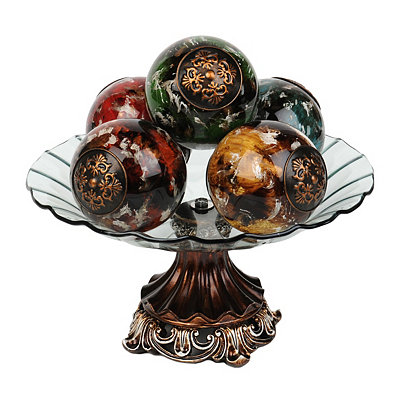 Marbled Glass Orb and Bowl Set, 6-pc.