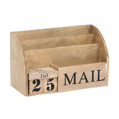 Natural Wood Mail Organizer and Calendar