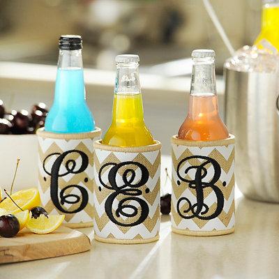 Chevron Burlap Monogram Drink Koozie