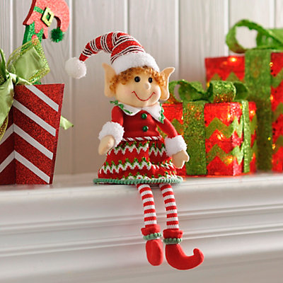 Jolly Elf Girl Shelf Sitter
