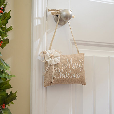 Tan Merry Christmas Door Hanger