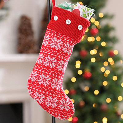 Red & White Snowflake Knit Stocking