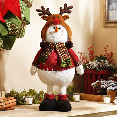 Plush Snowman with Reindeer Hat