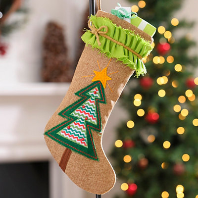 Burlap Ruffle Christmas Tree Stocking