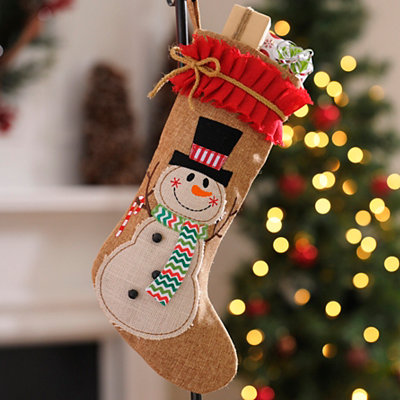 Burlap Ruffle Snowman Christmas Stocking