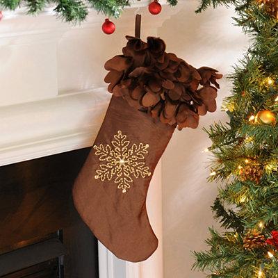 Brown Petal Satin Christmas Stocking