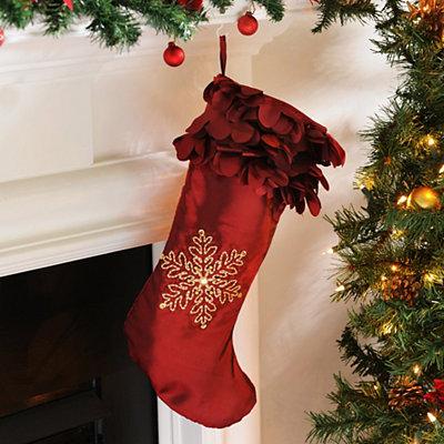 Red Petal Satin Christmas Stocking