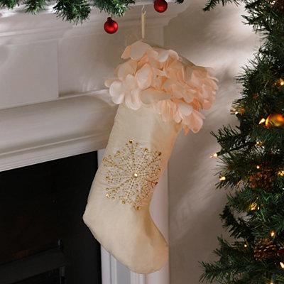 Ivory Petal Satin Christmas Stocking