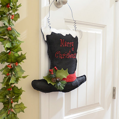 Black Top Hat Merry Christmas Wall Hanger