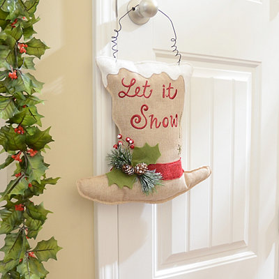 Tan Top Hat Let It Snow Wall Hanger