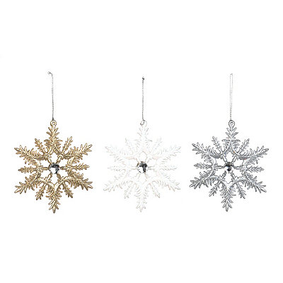 Metallic Glitter Snowflake Ornaments