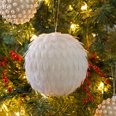 White Crystal Fiber Ornament, 6 in.