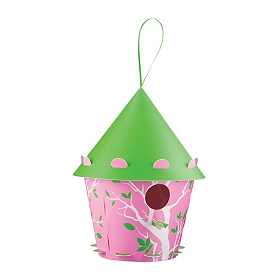 Green & Pink Tree Silhouette Birdhouse