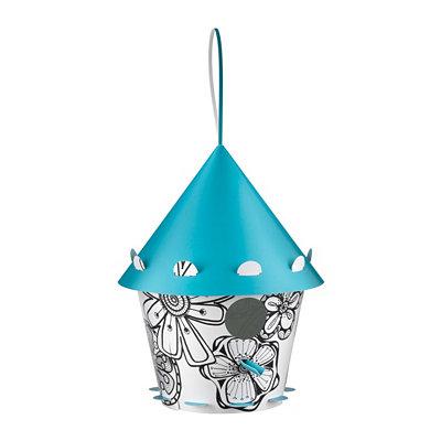 Blue & White Floral Print Birdhouse