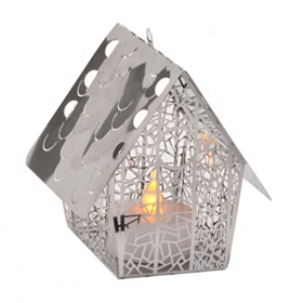 Lattice Birdhouse Stainless Steel Lantern