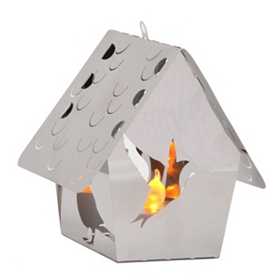 Birdhouse Stainless Steel Lantern