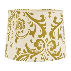 Cream and Green Damask Hardback Shade