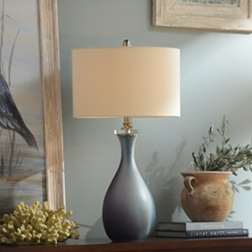Blue and Purple Glass Table Lamp