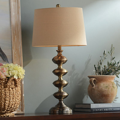 Pewter Curves Table Lamp