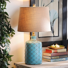 Netted Light Blue Ceramic Table Lamp