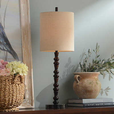 Mahogany Bronze Spindle Table Lamp