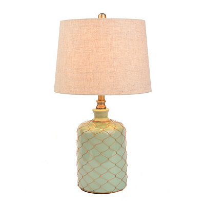 Netted Green Ceramic Table Lamp