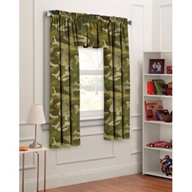 Green Camouflage 3-pc. Curtain Set, 63 in.