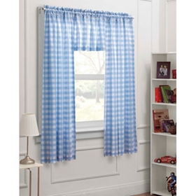 Blue Gingham 3-pc. Curtain Set, 63 in.