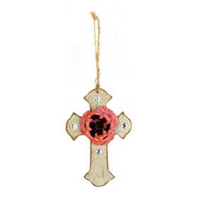 Pink & Ivory Rustic Cross Ornament