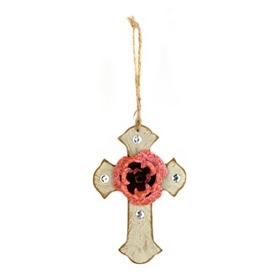 Pink & Ivory Rustic Cross Ornament