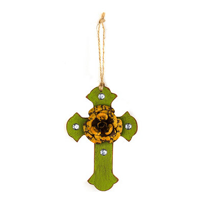 Yellow & Green Rustic Cross Ornament