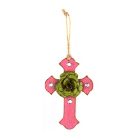 Green & Pink Rustic Cross Ornament