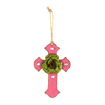 Green & Pink Rustic Cross Ornament