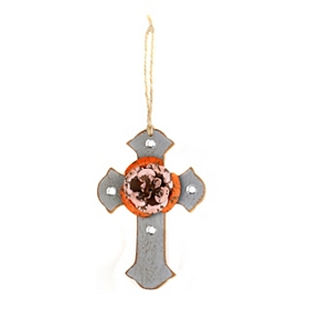 Gray & Orange Rustic Cross Ornament