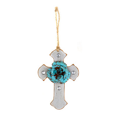 Turquoise & Gray Rustic Cross Ornament
