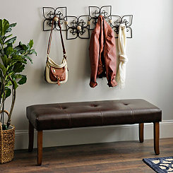 Heidi Brown Faux Leather Bench