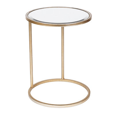 Antiqued Silver Metal End Table